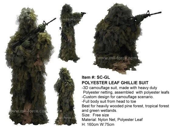 MIL-FORCE ミルフォース 実戦用最強カモフラージュスーツ/ポリエステルリーフ ギリースーツ SC-GL