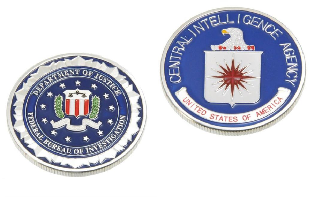 チャレンジコイン FBI & CIA シルバー 2枚セット / 記念メダル