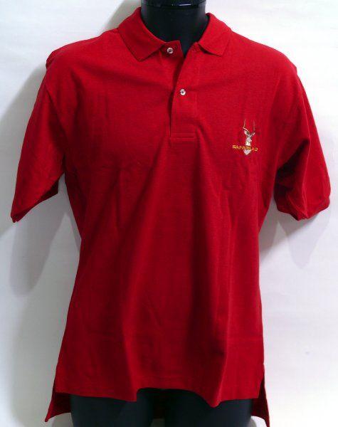 SAFARILAND 刺繍ロゴ入 ポロシャツ Lサイズ (赤)