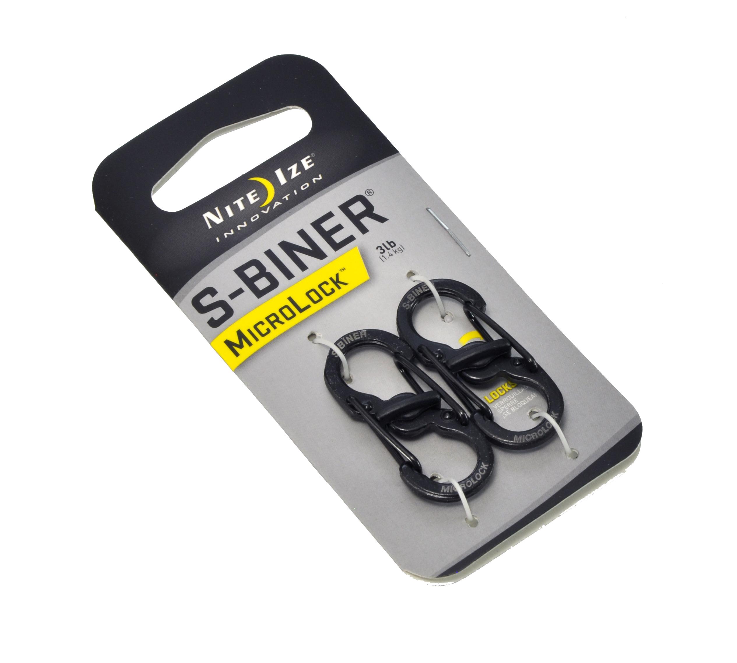 NITE IZE ナイトアイズ S-BINER エスビナー #1 マイクロロック /カラビナ (ブラック) 2個セット