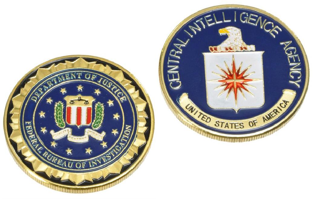 U.S.チャレンジコイン FBI & CIA ゴールド 2枚セット / 記念メダル