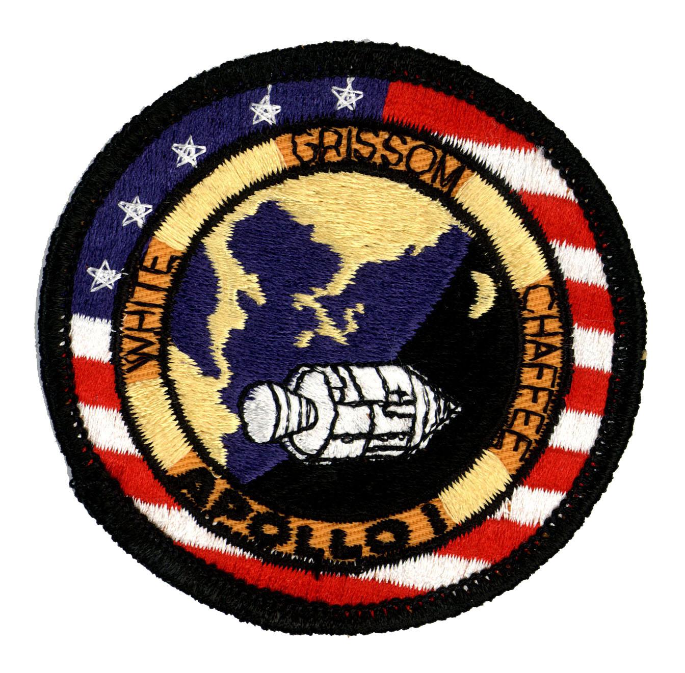 NASA ヴィンテージ刺繍パッチ アポロ1号 ベルクロ付き/ベルクロパッチ